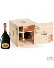 """CHAMPAGNE Caisse cave 4 bouteilles 75cl """"R"""" de Ruinart"""